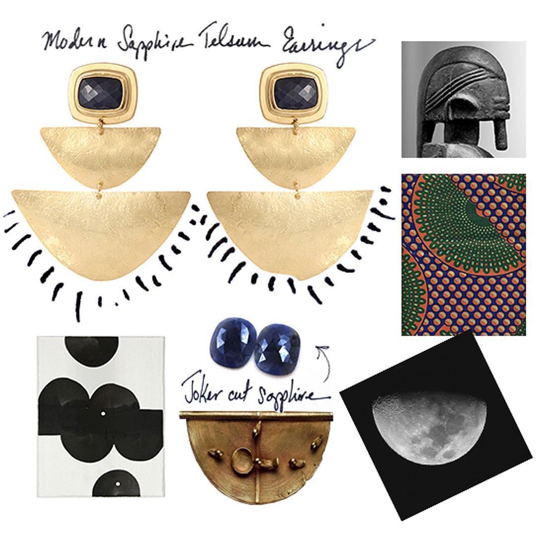 Shompole Collection Modern Telsum Sapphire Earrings