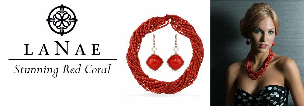 LaNae Red Coral necklace and earrings shown on model.. Noble Red Oxblood Coral at LaNae Fine Jewelry in Vail